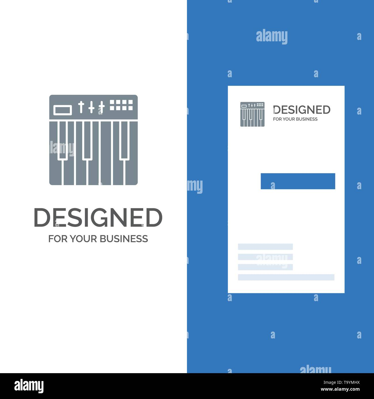 Controller, Hardware, Keyboard, Midi, Music Grey Logo Design and Business Card Template - Stock Image