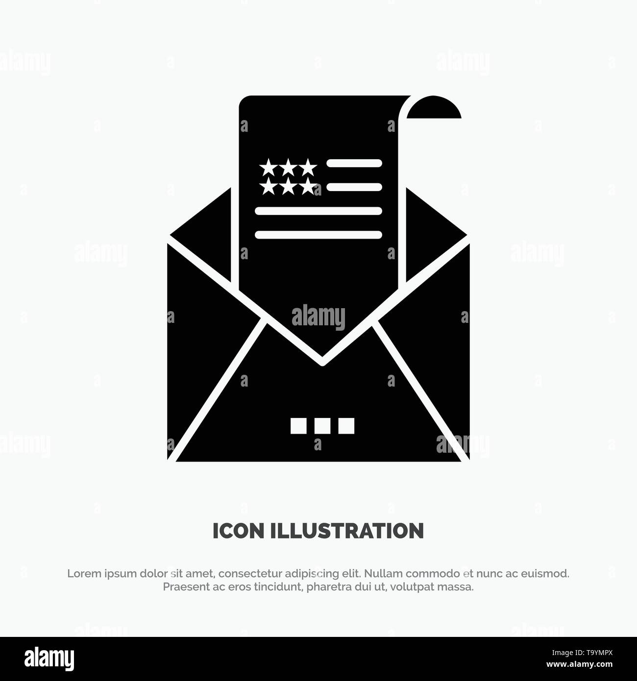 Email, Envelope, Greeting, Invitation, Mail solid Glyph Icon vector - Stock Image