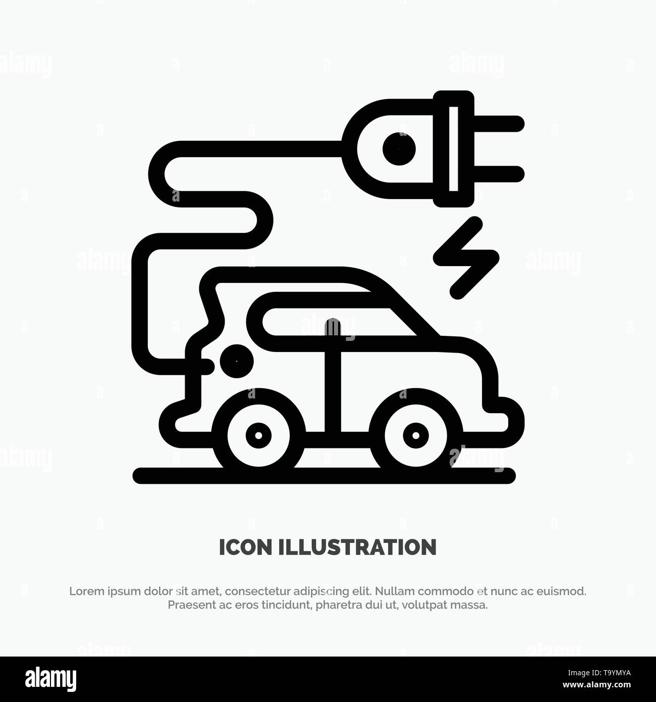 Automotive Technology, Electric Car, Electric Vehicle Line Icon Vector - Stock Image