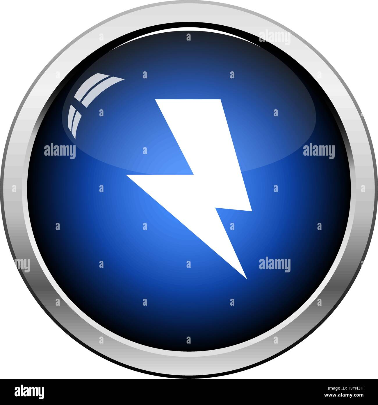 Reversed Bolt Icon. Glossy Button Design. Vector Illustration. - Stock Image