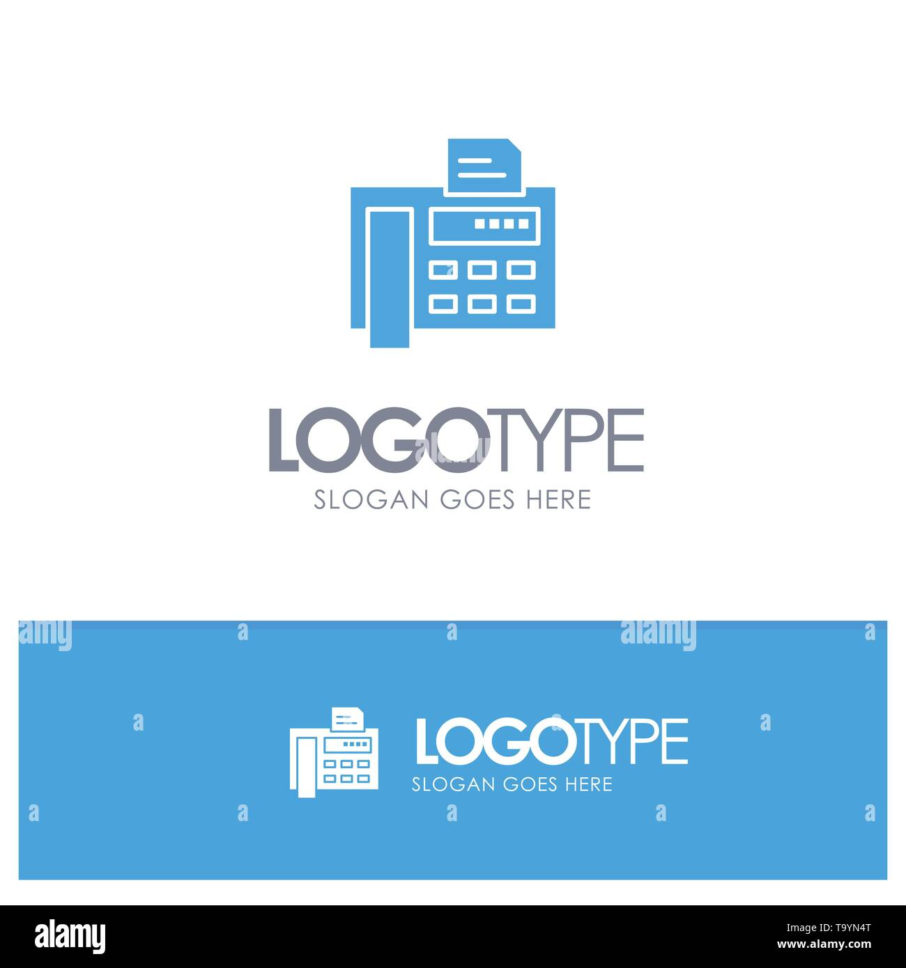 Fax, Phone, Typewriter, Fax Machine Blue Solid Logo with place for tagline - Stock Image