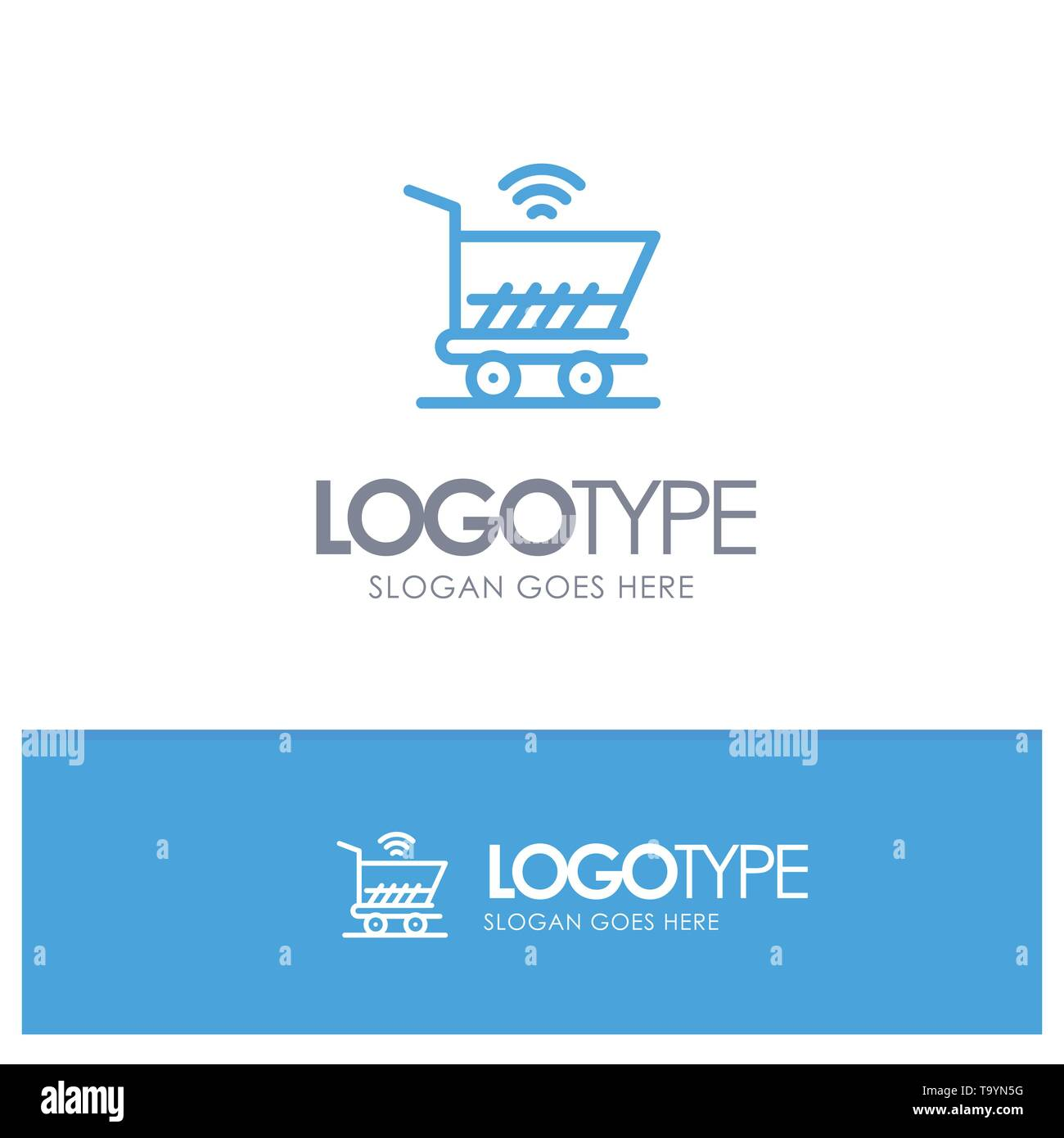 Trolley, Cart, Wifi, Shopping Blue outLine Logo with place for tagline - Stock Image