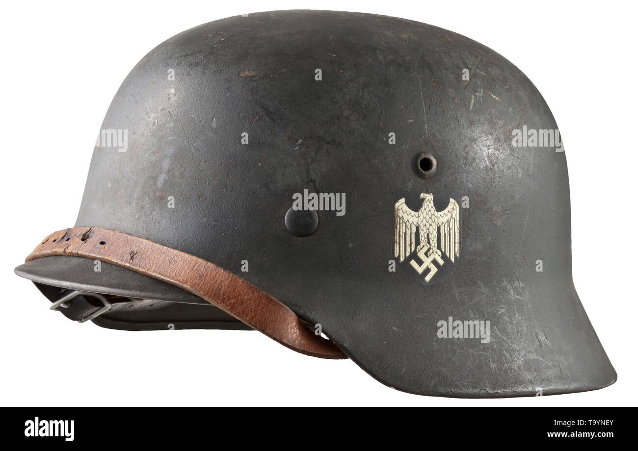 A steel helmet M 35 for army personnel with acceptance stamp