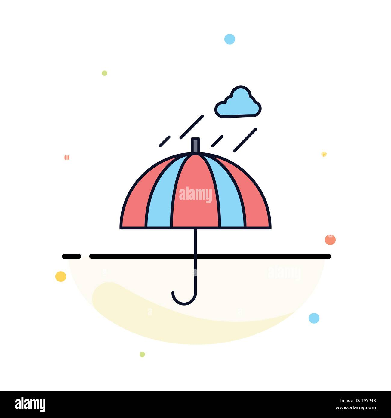 Umbrella, camping, rain, safety, weather Flat Color Icon Vector - Stock Image