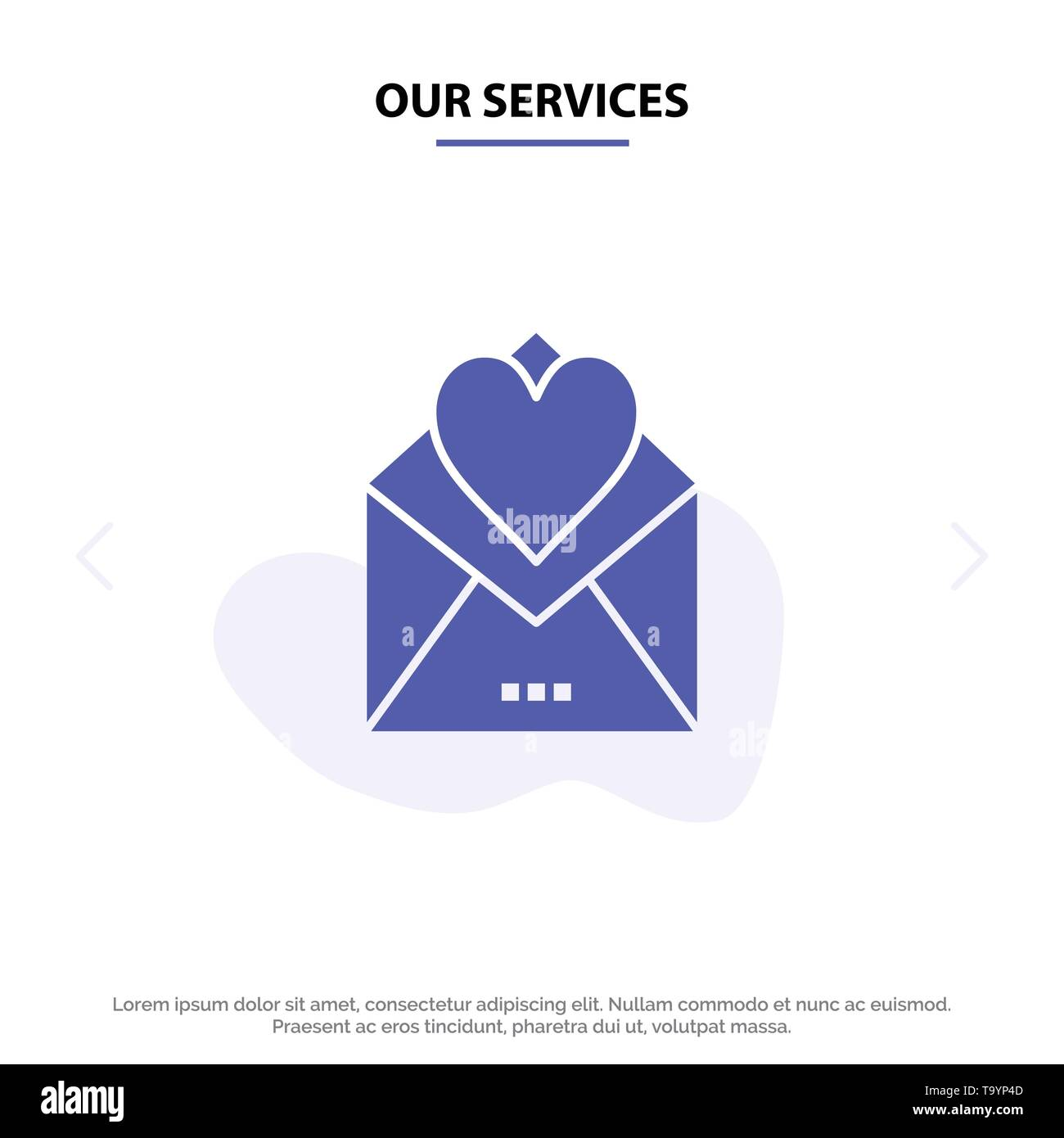 Our Services Letter, Mail, Card, Love Letter, Love Solid Glyph Icon Web card Template - Stock Image