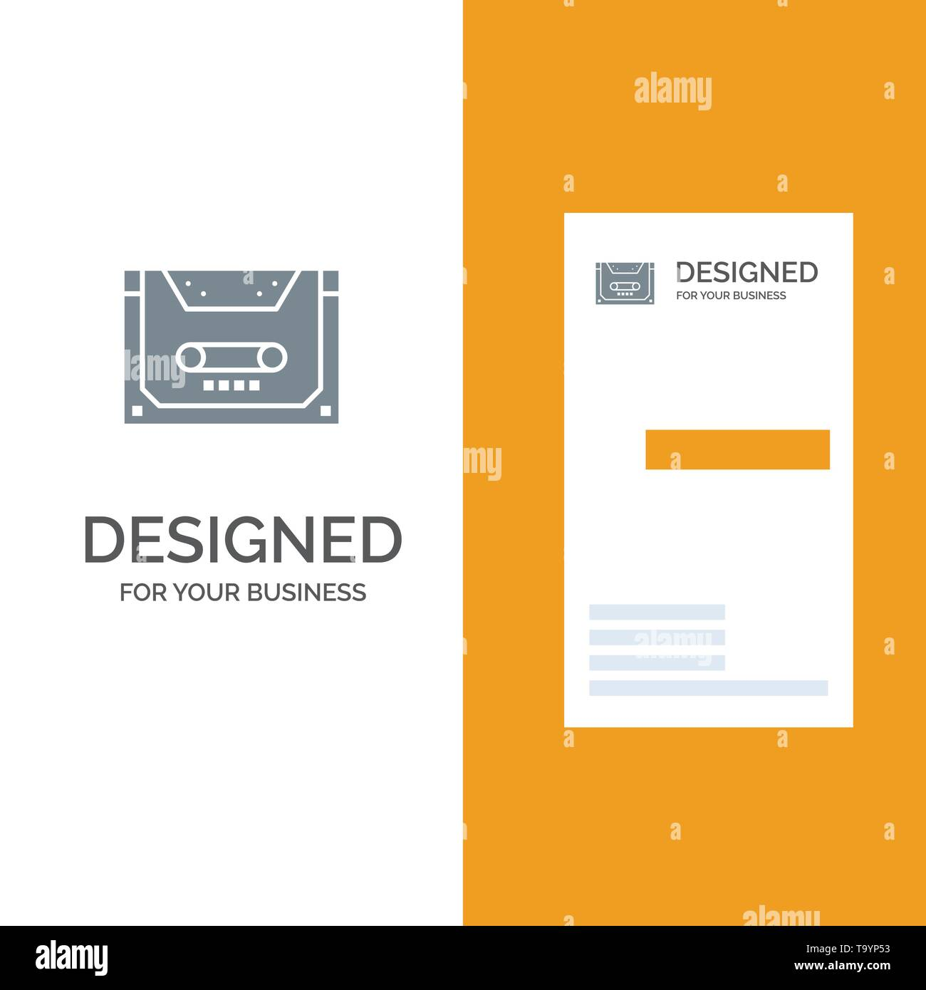 Analog, Audio, Cassette, Compact, Deck Grey Logo Design and Business Card Template - Stock Image