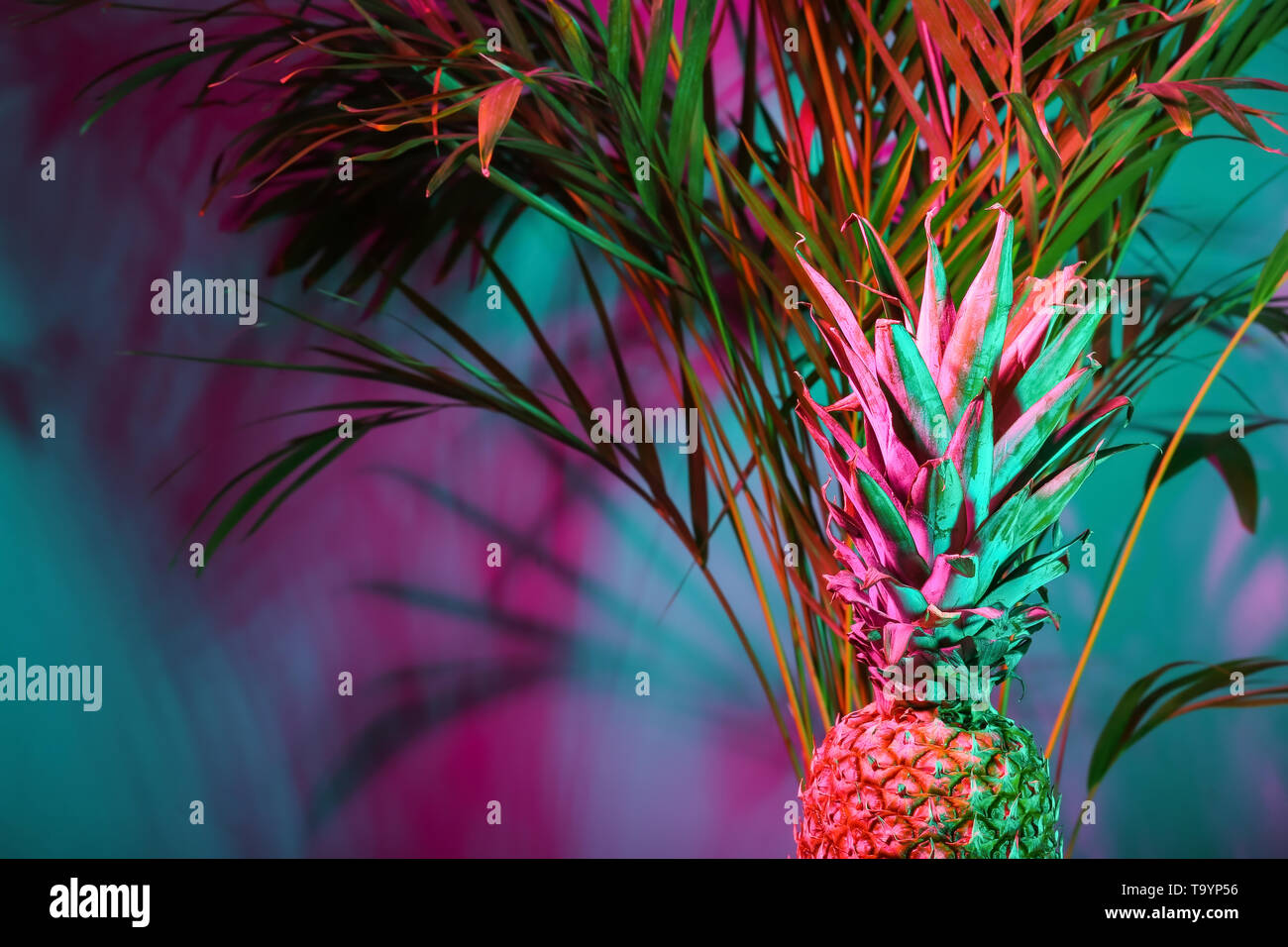 Fresh pineapple and tropical palm on color background - Stock Image