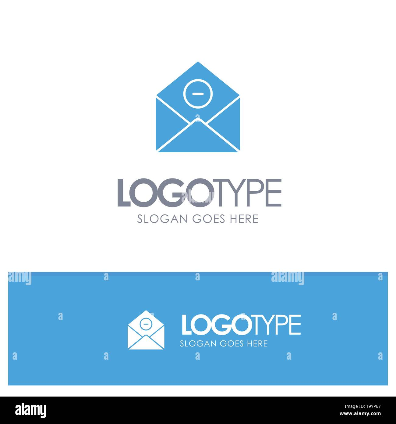 Communication, Delete, Delete-Mail, Email Blue Solid Logo with place for tagline - Stock Image