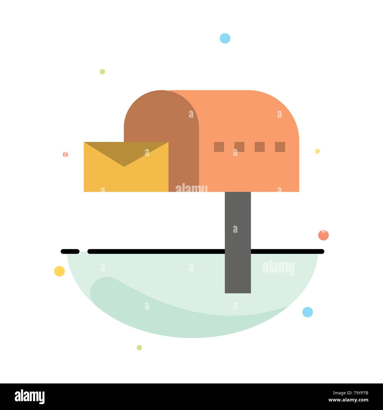 Letterbox, Email, Mailbox, Box Abstract Flat Color Icon Template - Stock Image