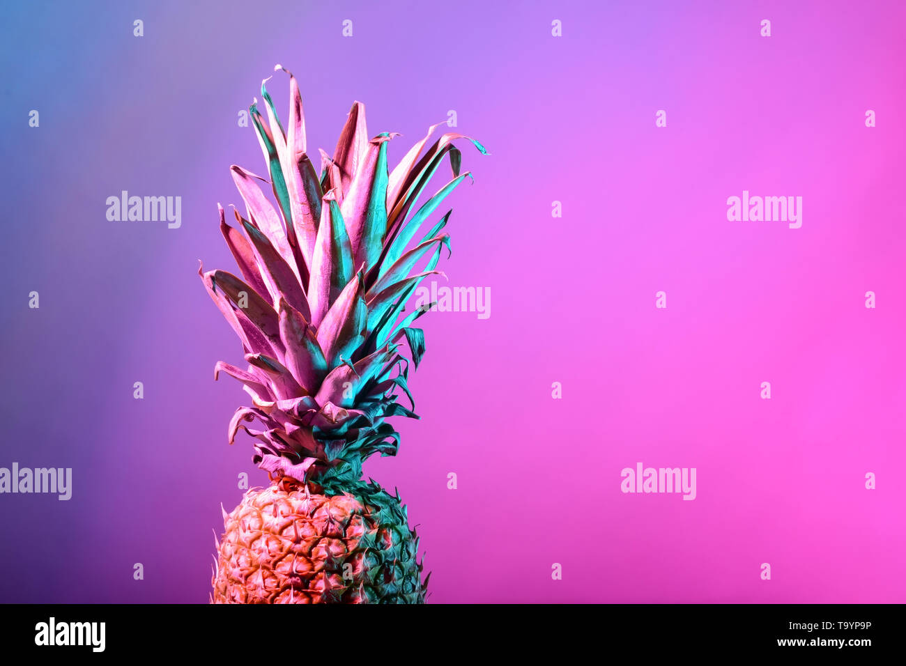 Fresh pineapple on color background - Stock Image