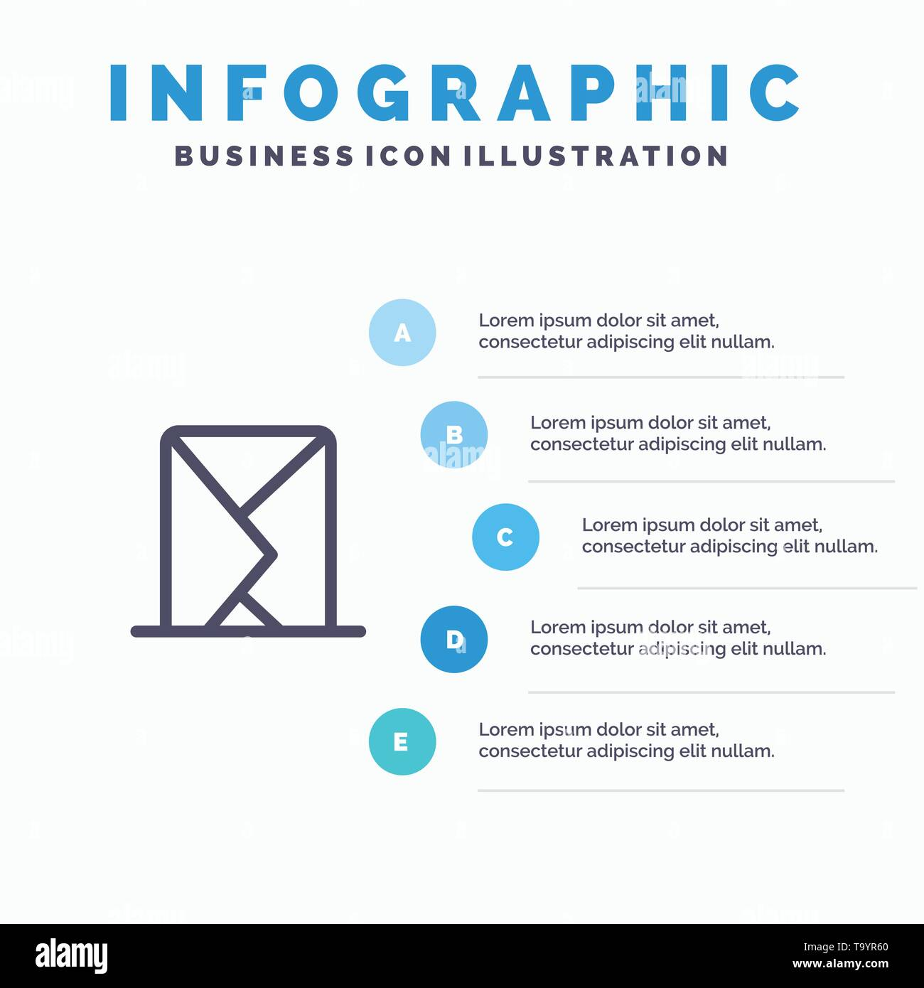 Email, Envelope, Mail, Message, Sent Line icon with 5 steps presentation infographics Background - Stock Image
