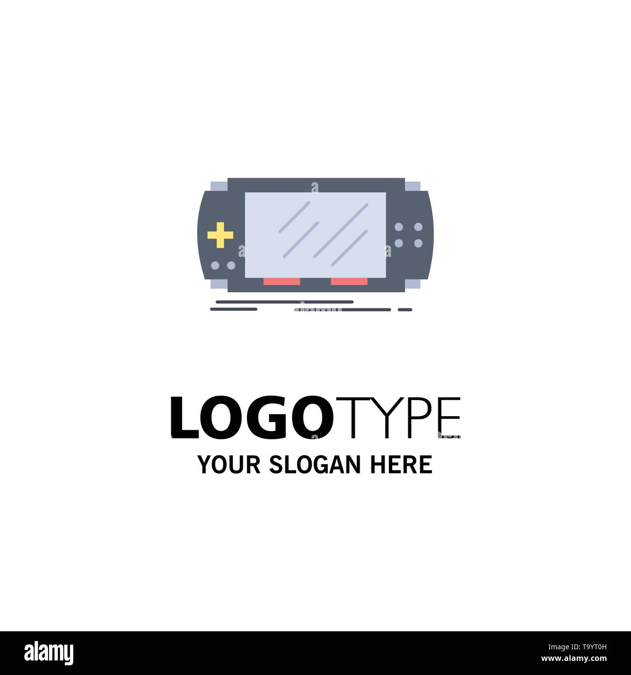 Console, device, game, gaming, psp Flat Color Icon Vector - Stock Image