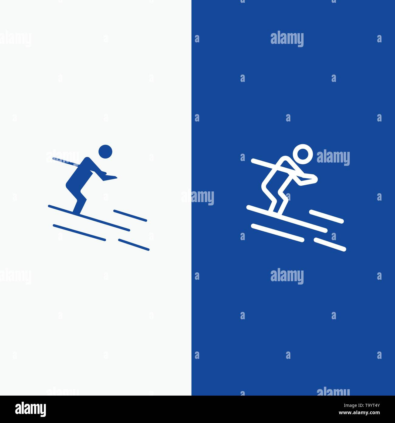 Activity, Ski, Skiing, Sportsman Line and Glyph Solid icon Blue banner Line and Glyph Solid icon Blue banner - Stock Image