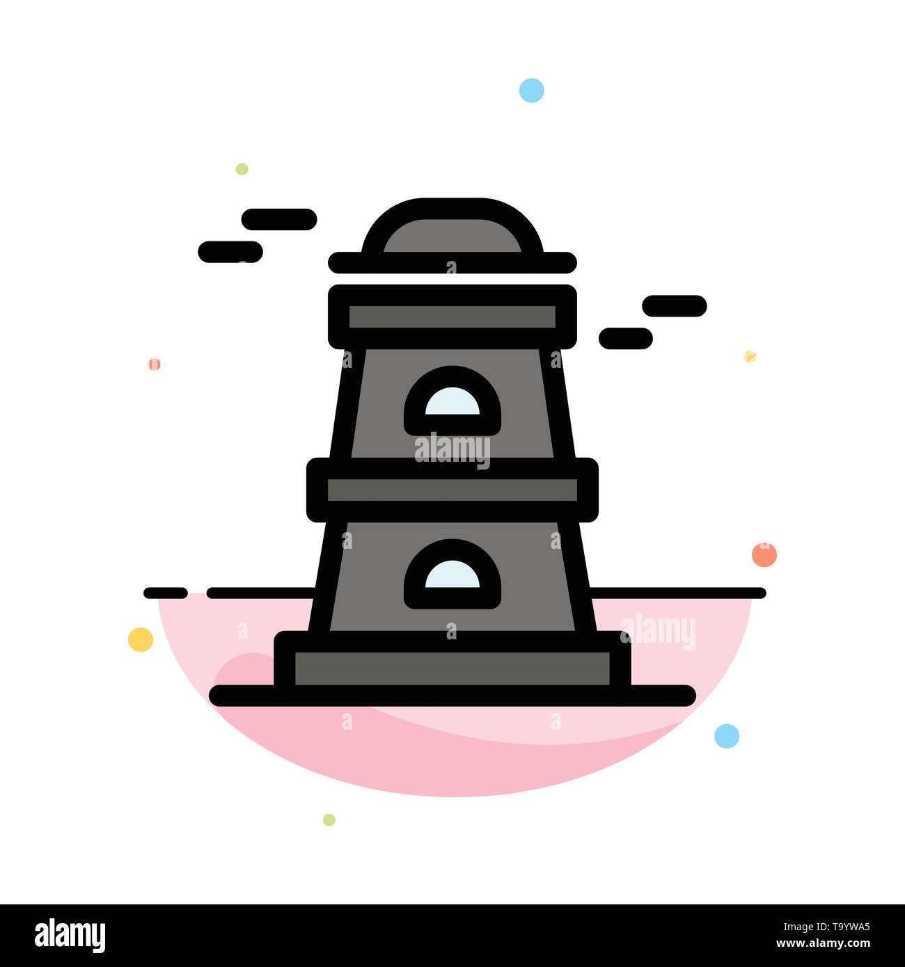 Observatory, Tower, Watchtower Abstract Flat Color Icon Template - Stock Image