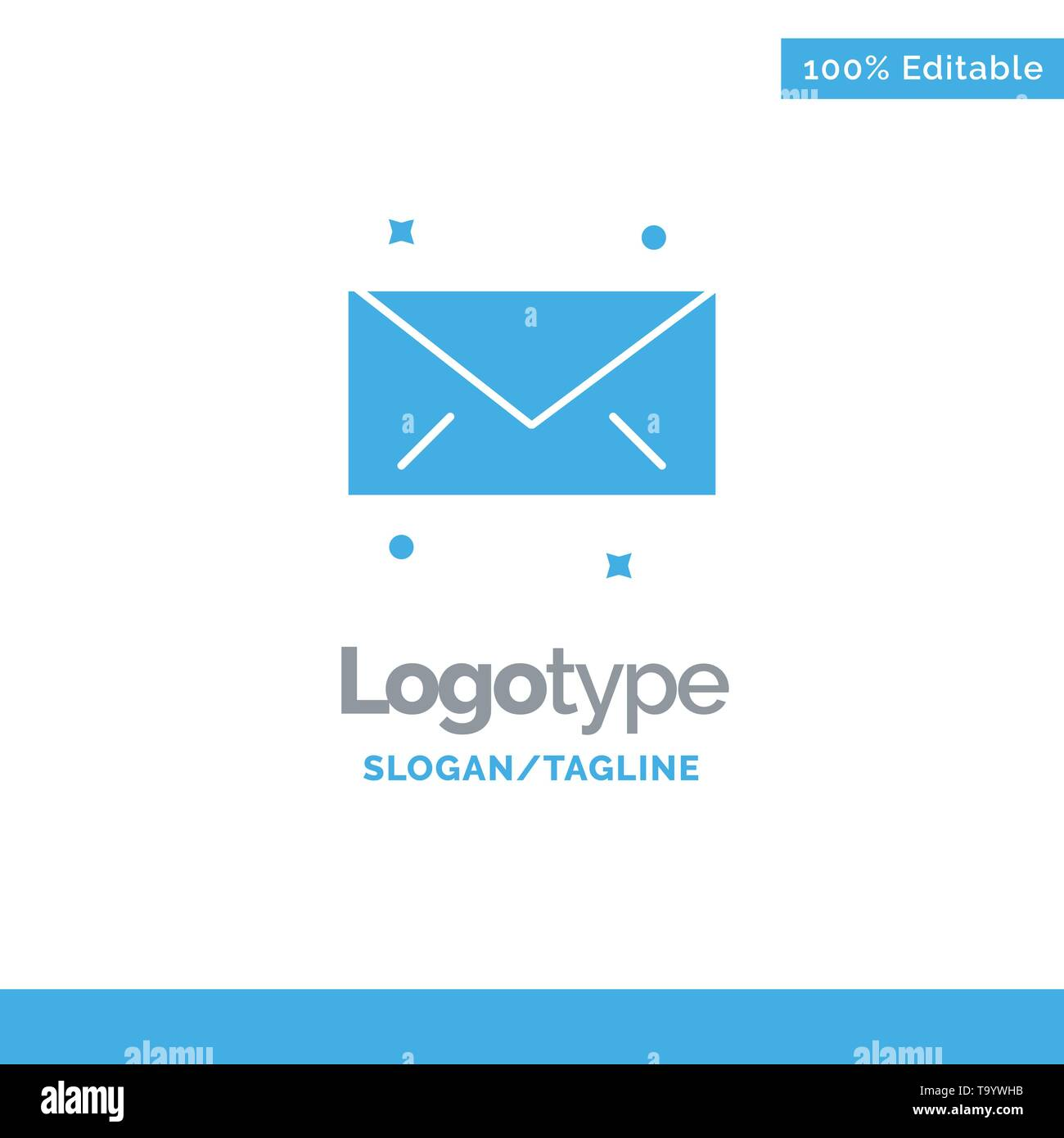 Message, Mail, Email Blue Solid Logo Template. Place for Tagline - Stock Image