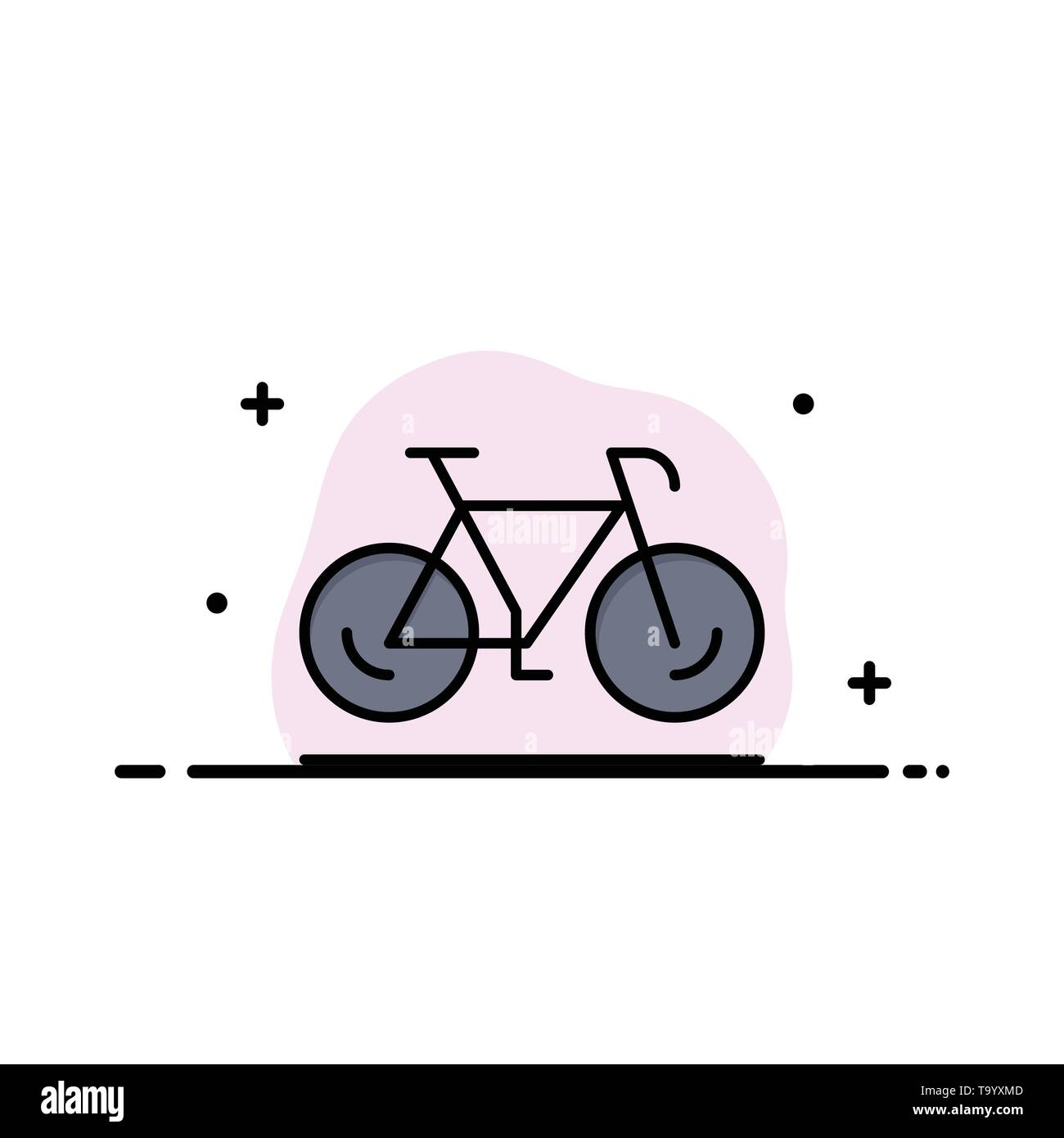 Bicycle, Movement, Walk, Sport Business Logo Template. Flat Color - Stock Image