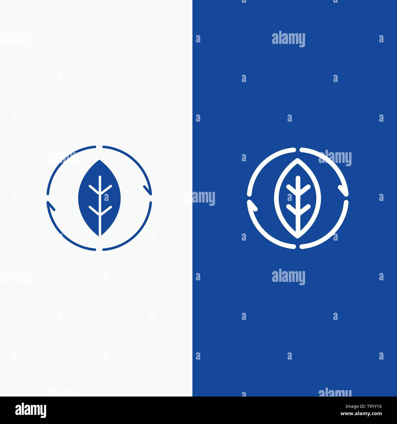 Energy, Green, Source, Power Line and Glyph Solid icon Blue banner Line and Glyph Solid icon Blue banner - Stock Image