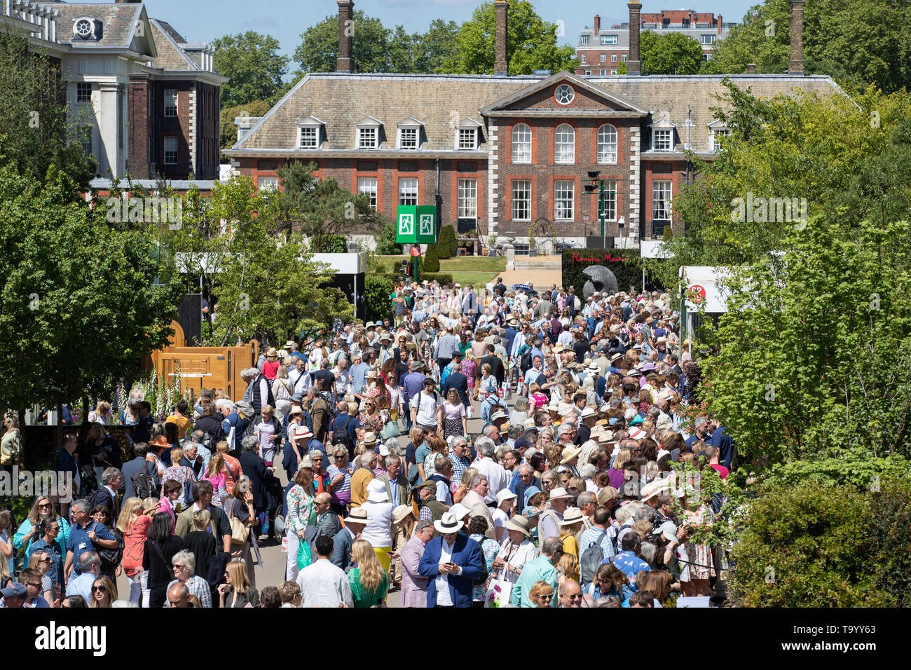 Visitors peruse stands as the doors open to the public at the RHS Chelsea Flower Show at the Royal Hospital Chelsea, London. - Stock Image