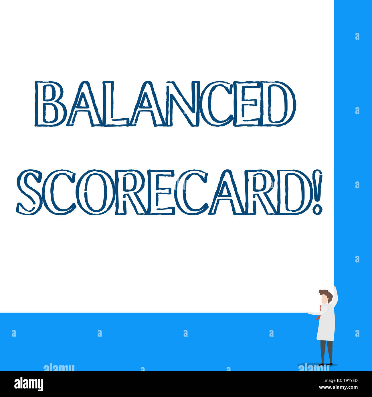 Conceptual hand writing showing Balanced Scorecard. Concept meaning a perforanalysisce metric used in strategic analysisagement Professor wear white c - Stock Image