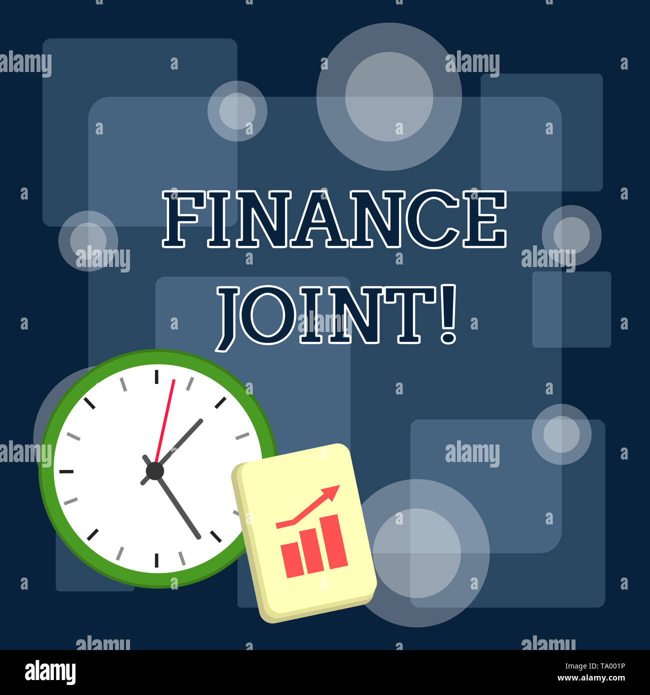 Writing note showing Finance Joint. Business concept for provision of funds for a project came from two or more sources Layout Wall Clock Notepad with - Stock Image