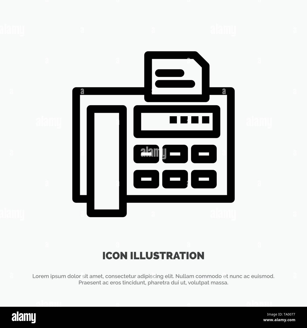 Fax, Phone, Typewriter, Fax Machine Line Icon Vector - Stock Image