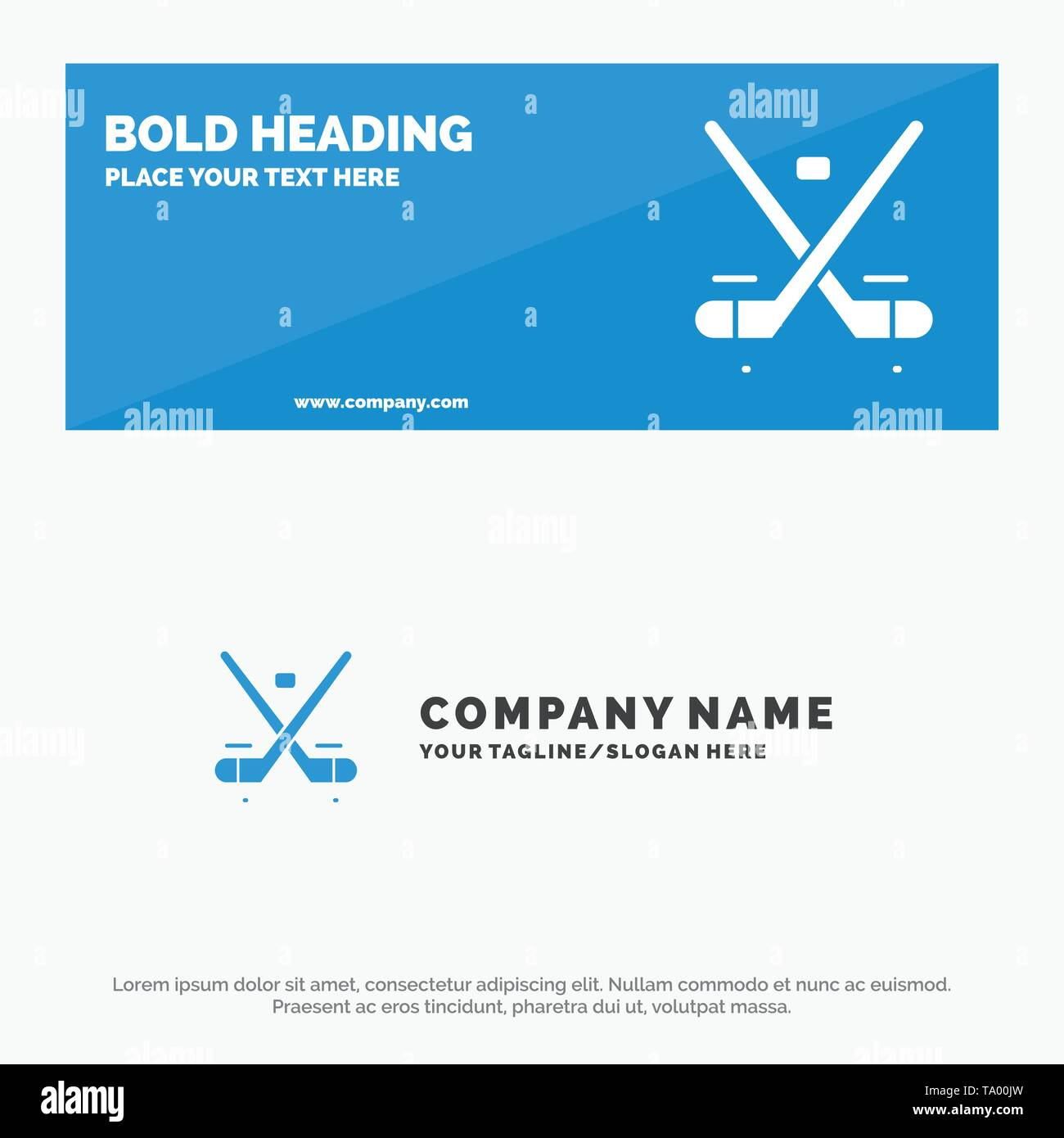 Canada, Game, Hockey, Ice, Olympics SOlid Icon Website Banner and Business Logo Template - Stock Image