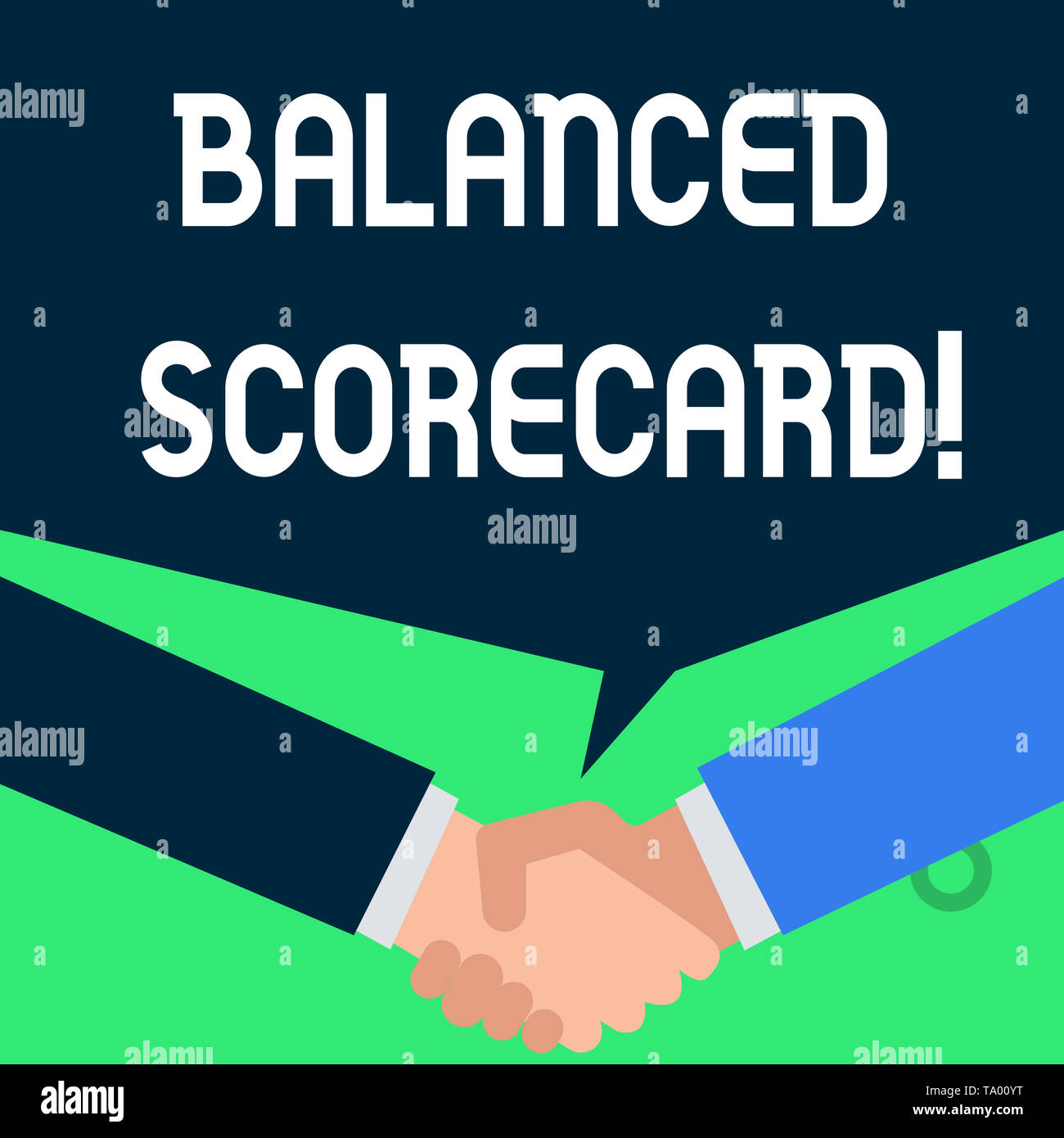 Writing note showing Balanced Scorecard. Business concept for a perforanalysisce metric used in strategic analysisagement People have conversation gre - Stock Image