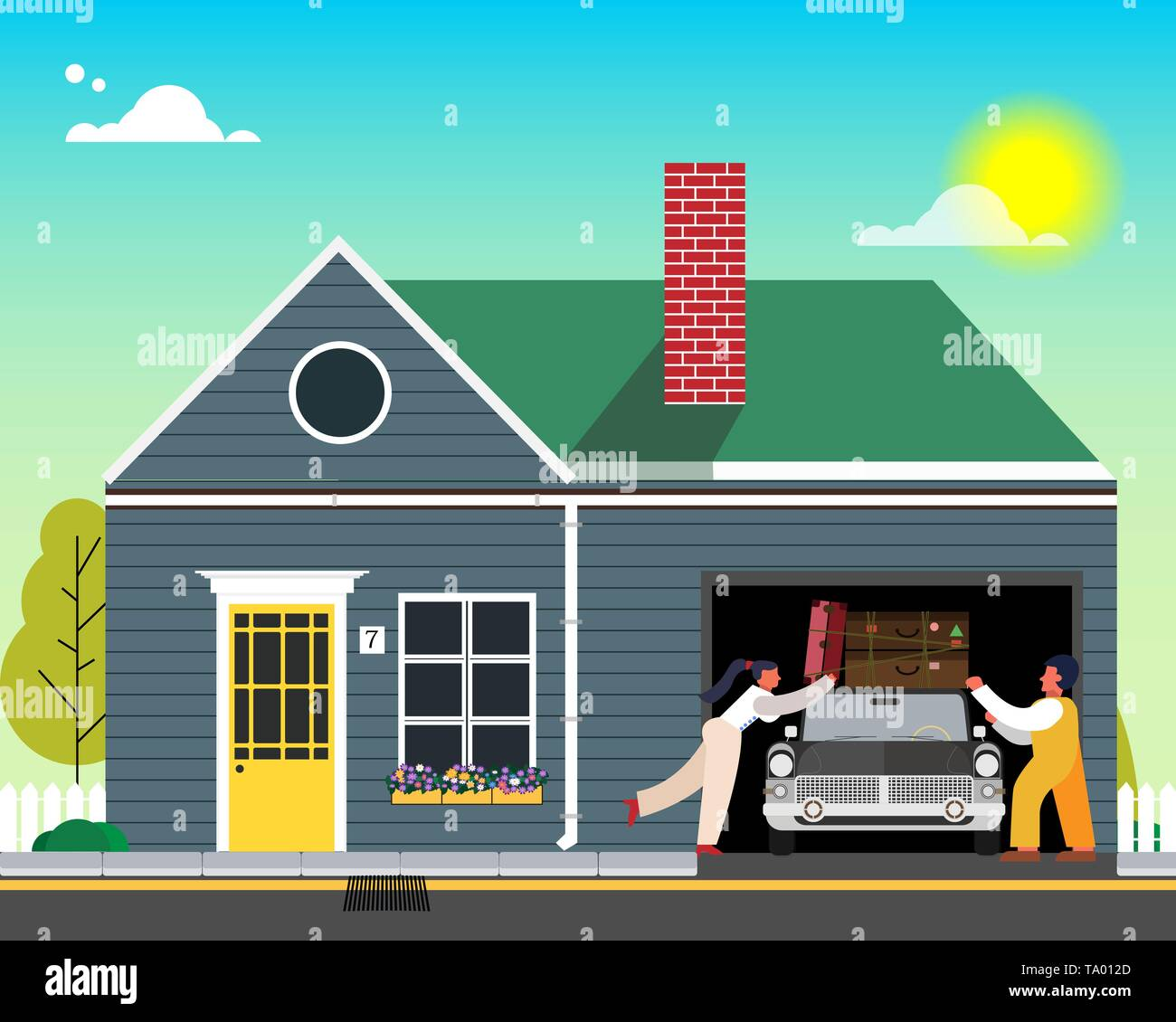 Family is going to rest. Loading things on the car near the house. Vector illustration. - Stock Vector