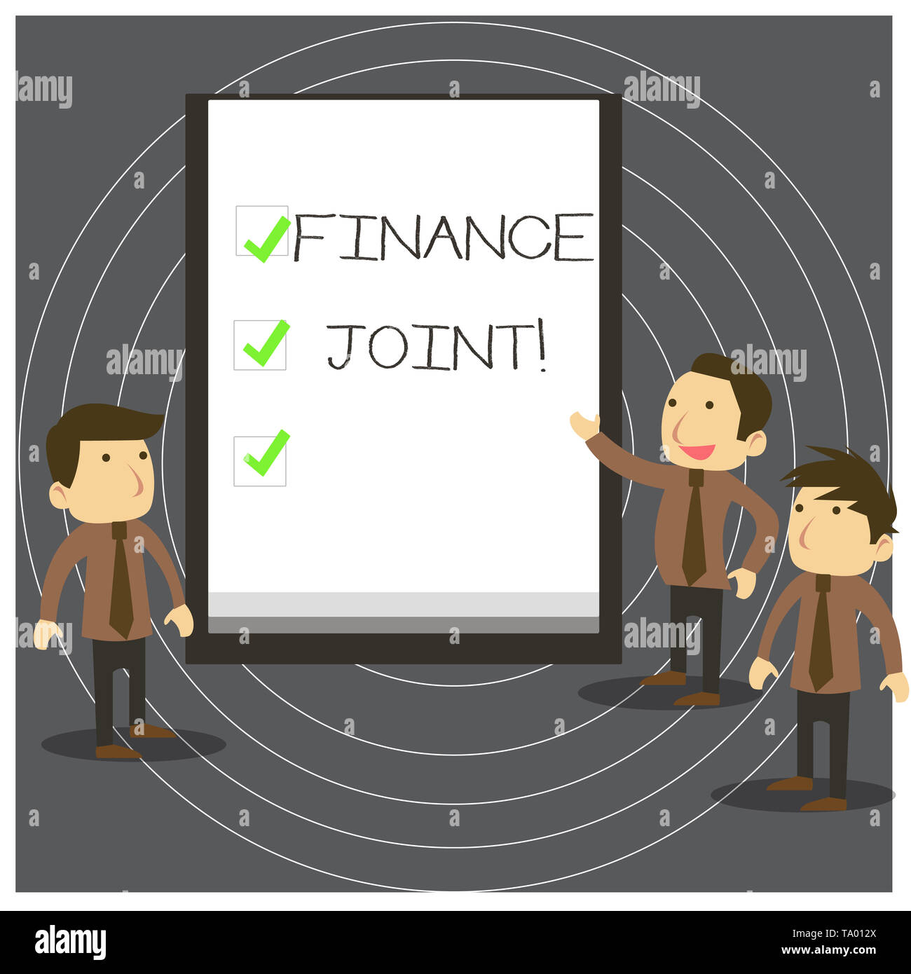 Text sign showing Finance Joint. Business photo text provision of funds for a project came from two or more sources Business People Colleagues Discuss - Stock Image