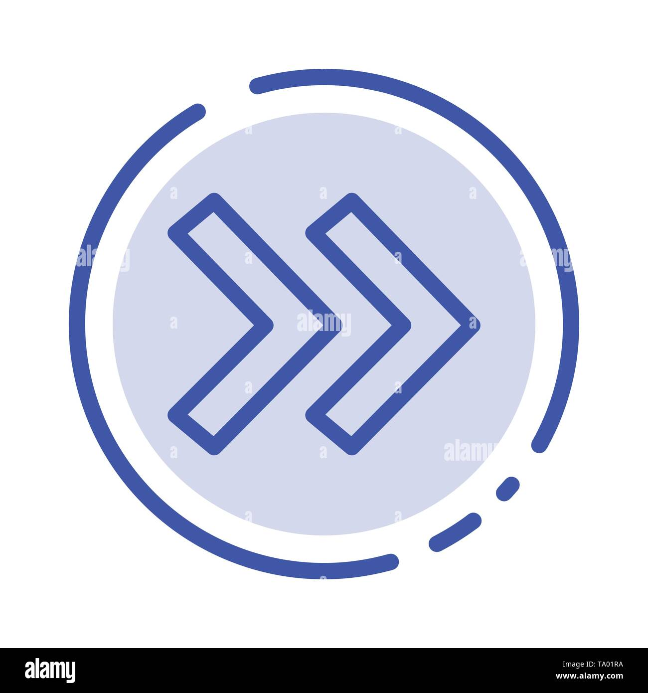 Arrow, Arrows, Right Blue Dotted Line Line Icon - Stock Image