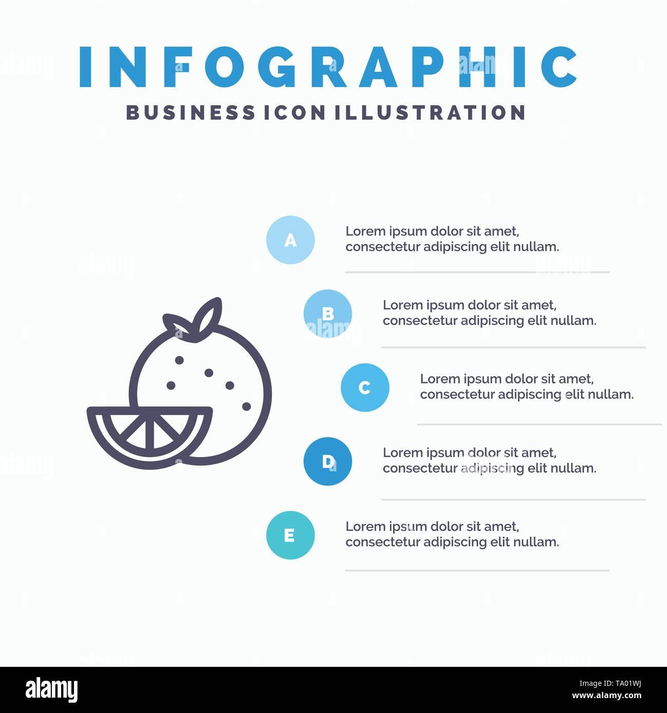 Orange, Food, Fruit, Madrigal Line icon with 5 steps presentation infographics Background - Stock Image