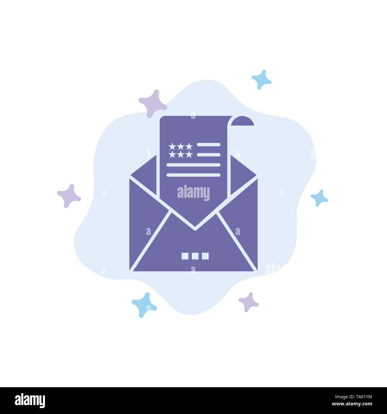 Email, Envelope, Greeting, Invitation, Mail Blue Icon on Abstract Cloud Background - Stock Image