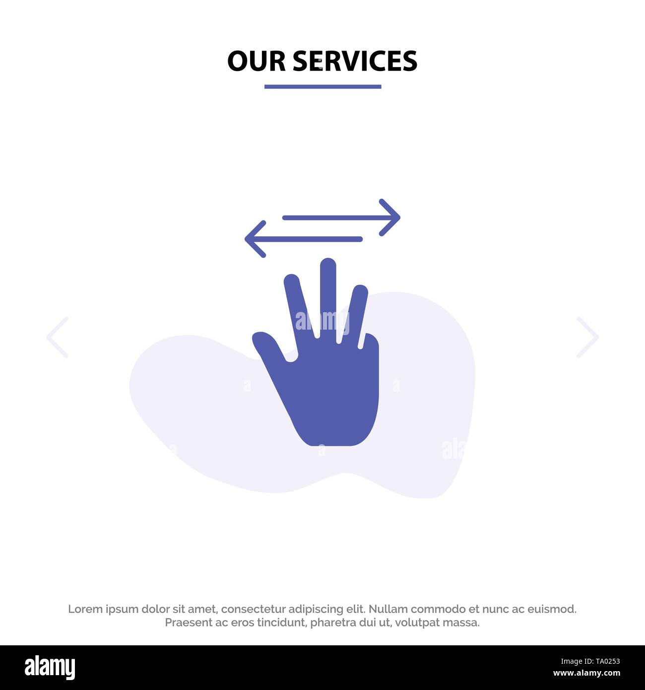 Our Services Hand, Hand Cursor, Up, Left, Right Solid Glyph Icon Web card Template - Stock Image