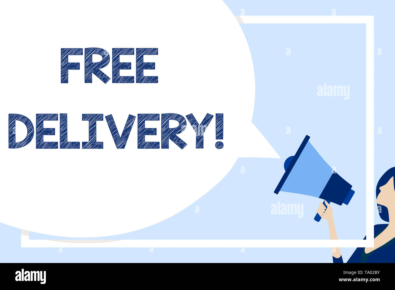 Word writing text Free Delivery. Business photo showcasing directly deliver to the recipient s is address without charge Huge Blank Speech Bubble Roun - Stock Image