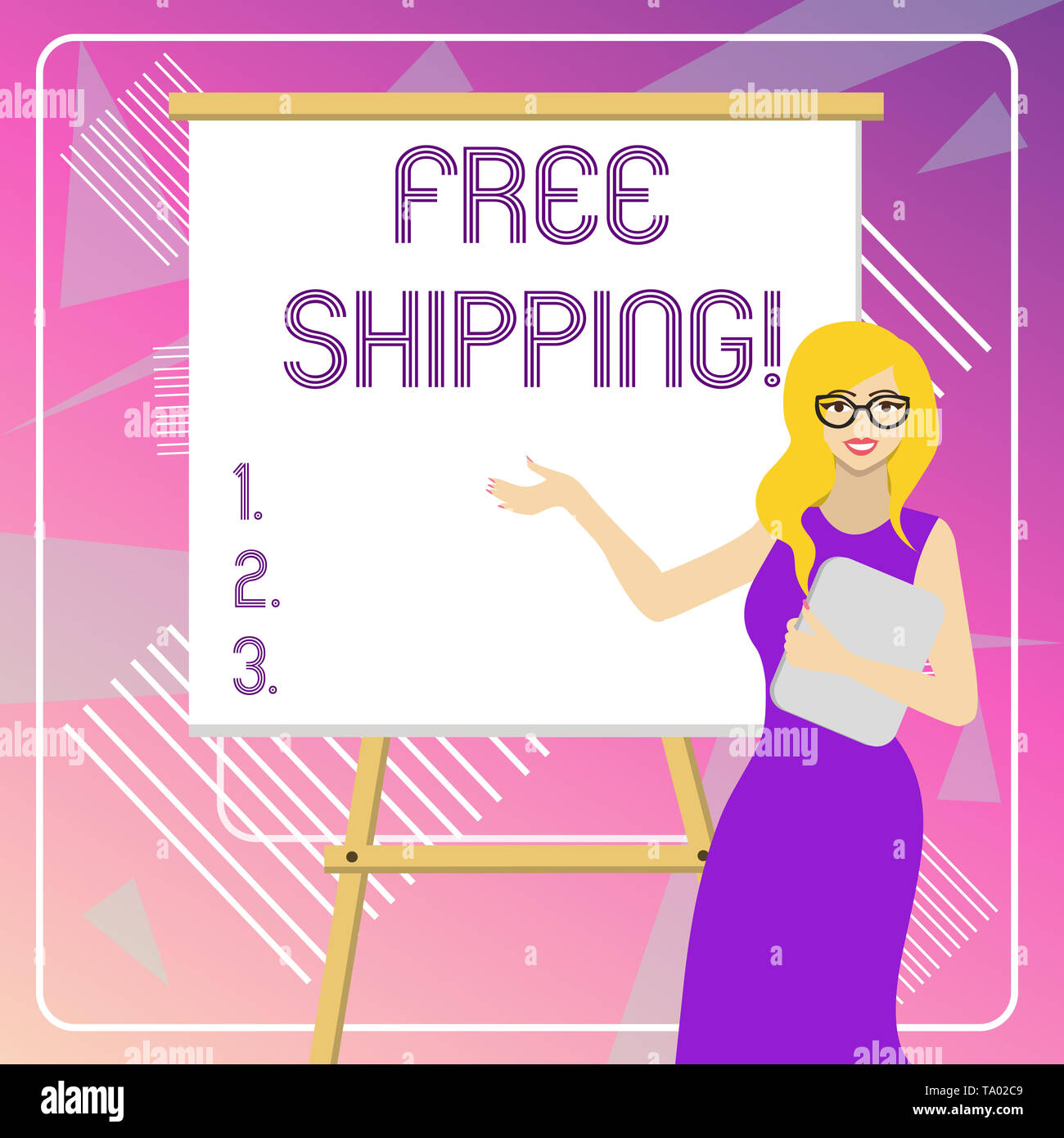 Text sign showing Free Shipping. Business photo showcasing directly deliver to the recipient s is address without charge White Female in Glasses Stand - Stock Image
