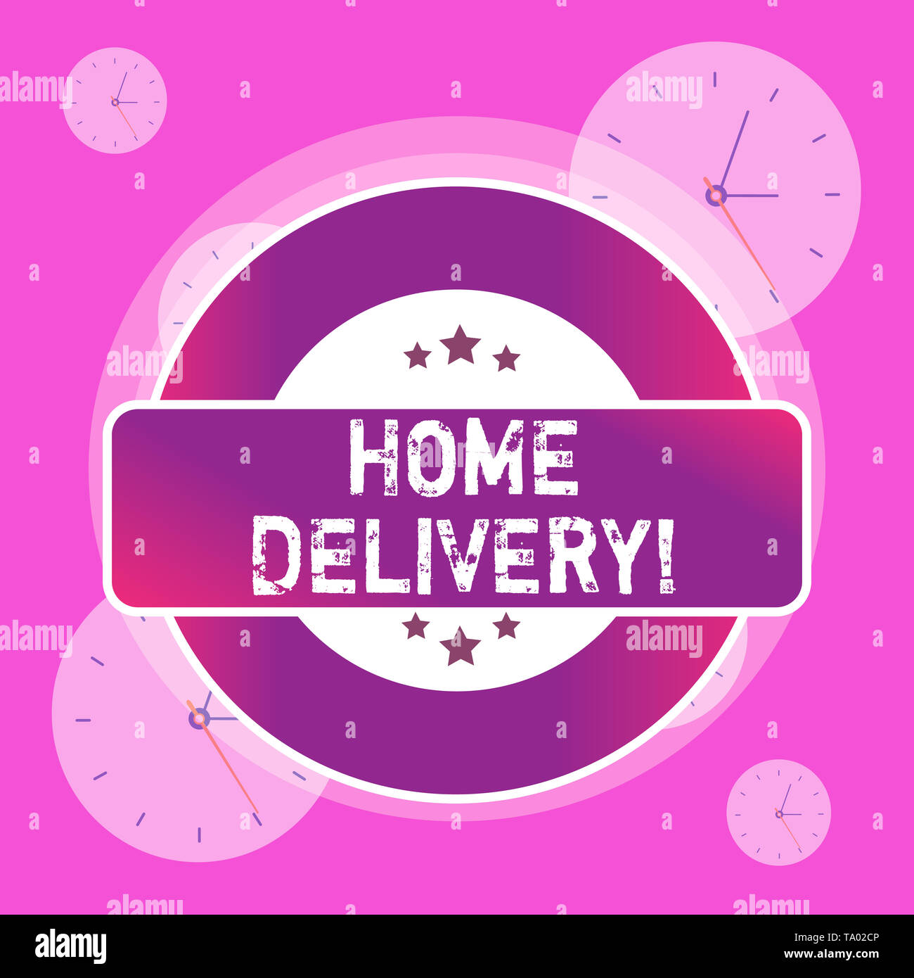 Conceptual hand writing showing Home Delivery. Concept meaning act of taking goods or parcel directly to customers home Colored Round Shape Label Star - Stock Image