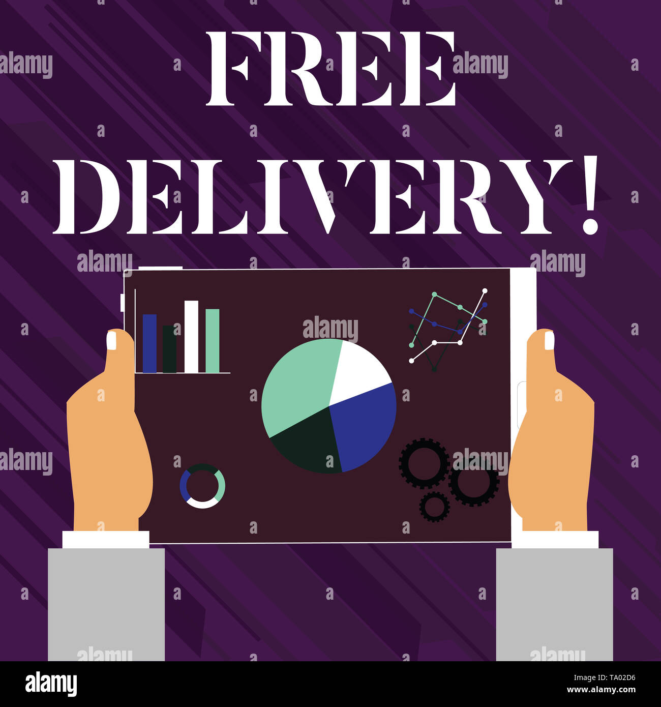 Handwriting text writing Free Delivery. Conceptual photo directly deliver to the recipient s is address without charge Hands Holding Tablet with Searc - Stock Image