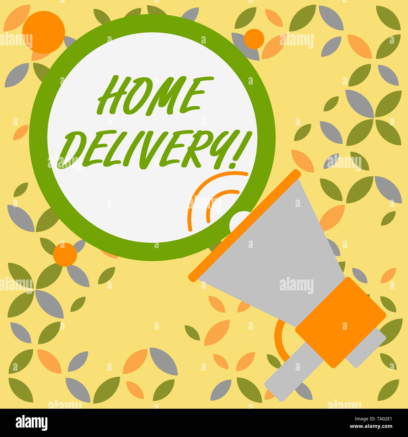 Word writing text Home Delivery. Business photo showcasing act of taking goods or parcel directly to customers home SpeakingTrumpet Empty Round Stroke - Stock Image