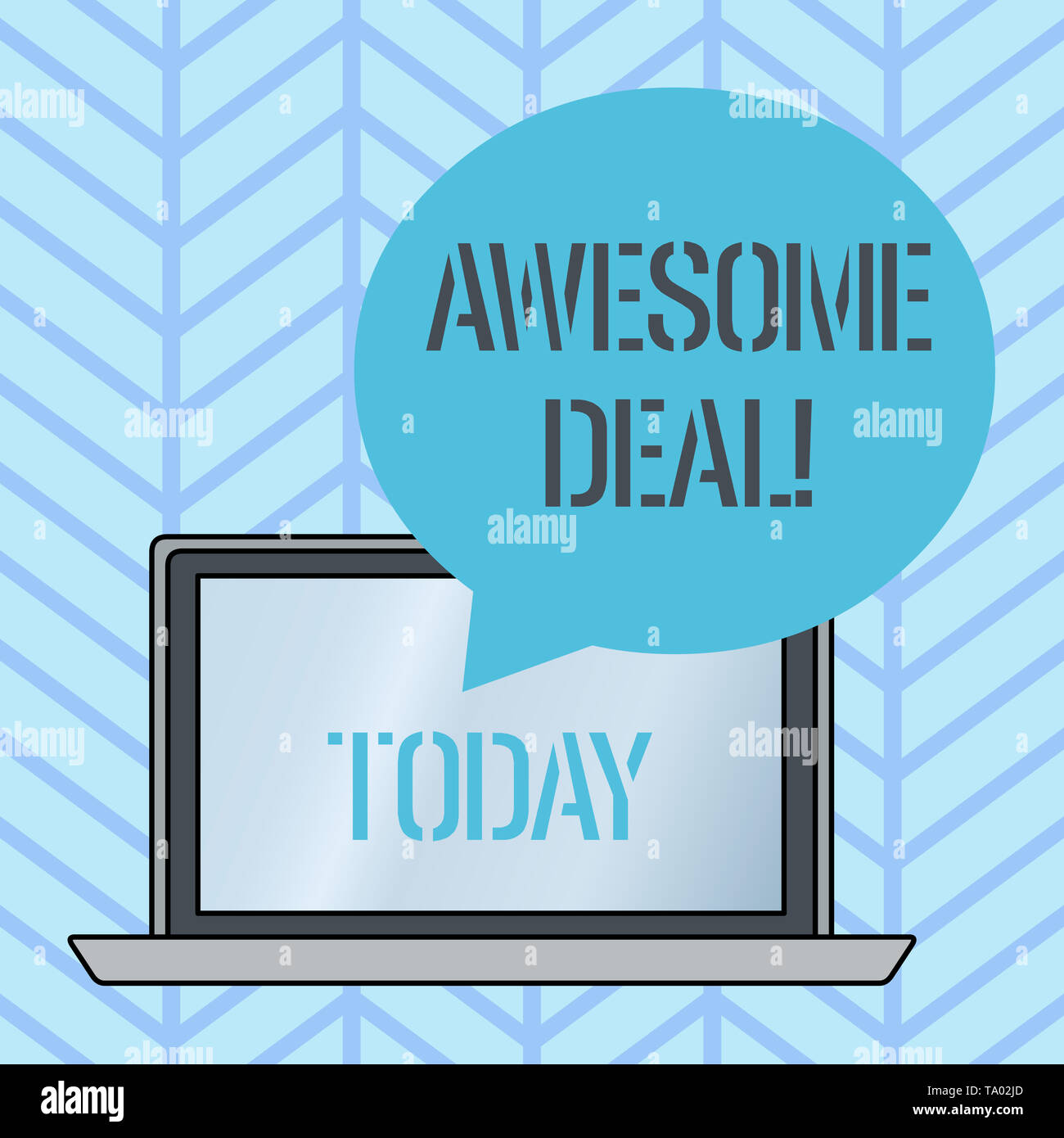 Writing note showing Awesome Deal. Business concept for A large but indefinite quantity as like as a good deal of money Round Shape Speech Bubble Floa - Stock Image