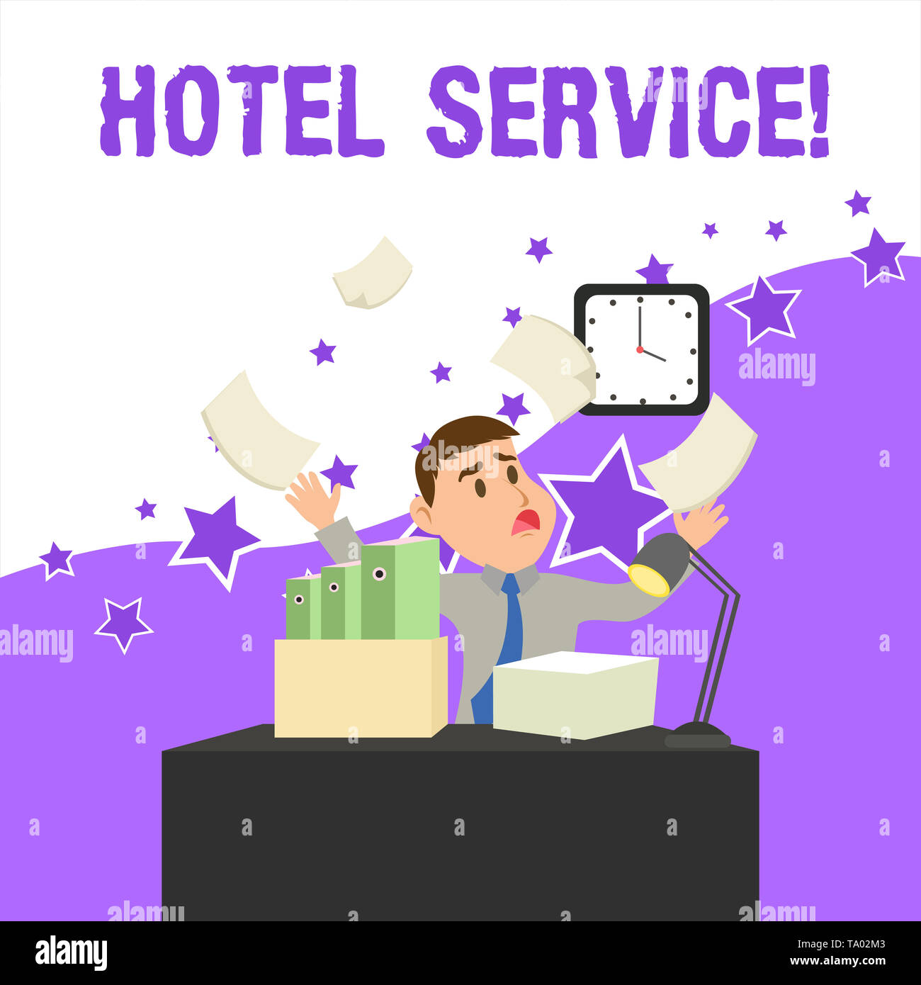 Text sign showing Hotel Service. Business photo showcasing Providing guests warm accommodation and other services Confused Male Employee Manager Clutt - Stock Image