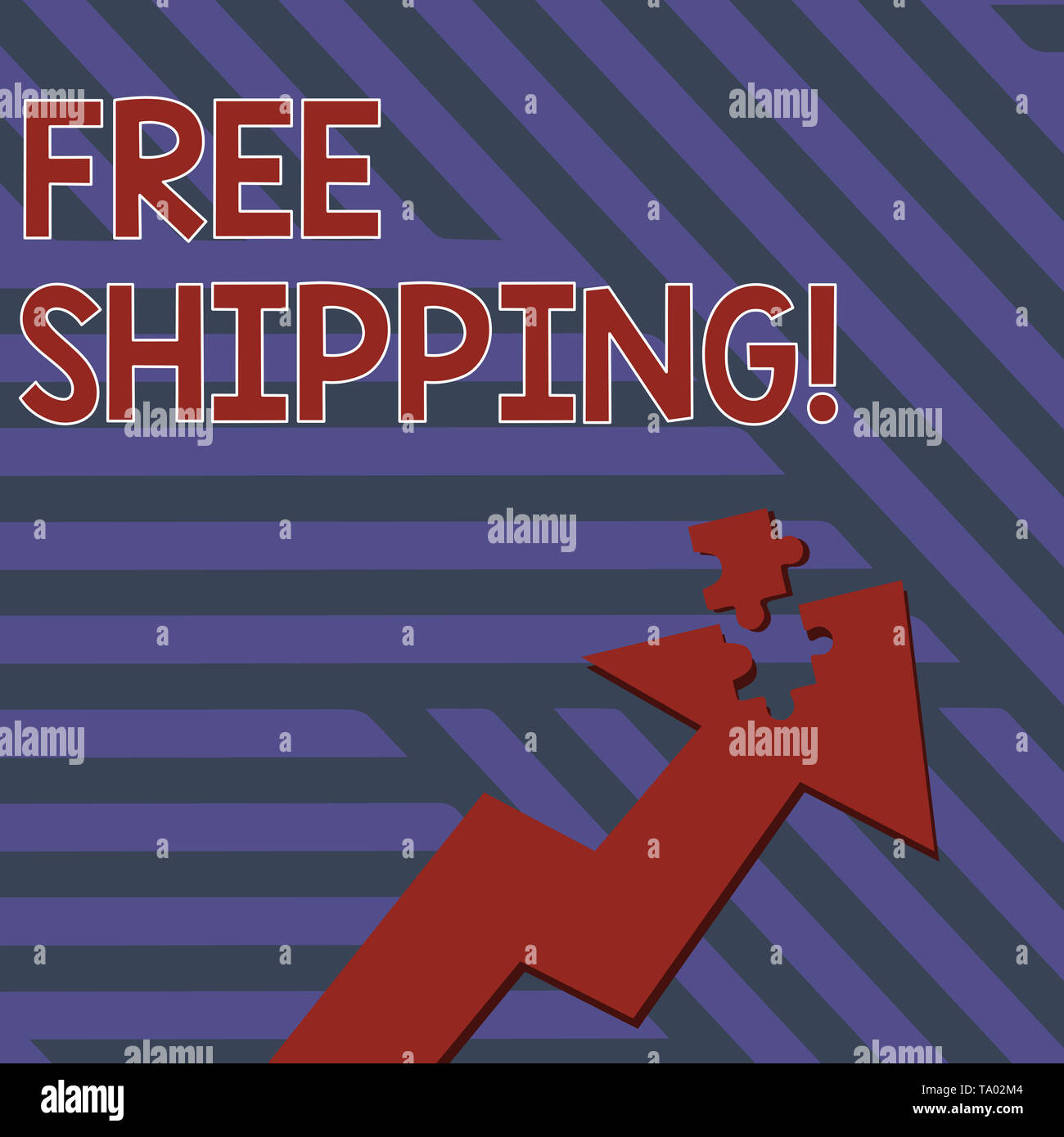 Writing note showing Free Shipping. Business concept for directly deliver to the recipient s is address without charge Arrow Pointing Up with Detached - Stock Image