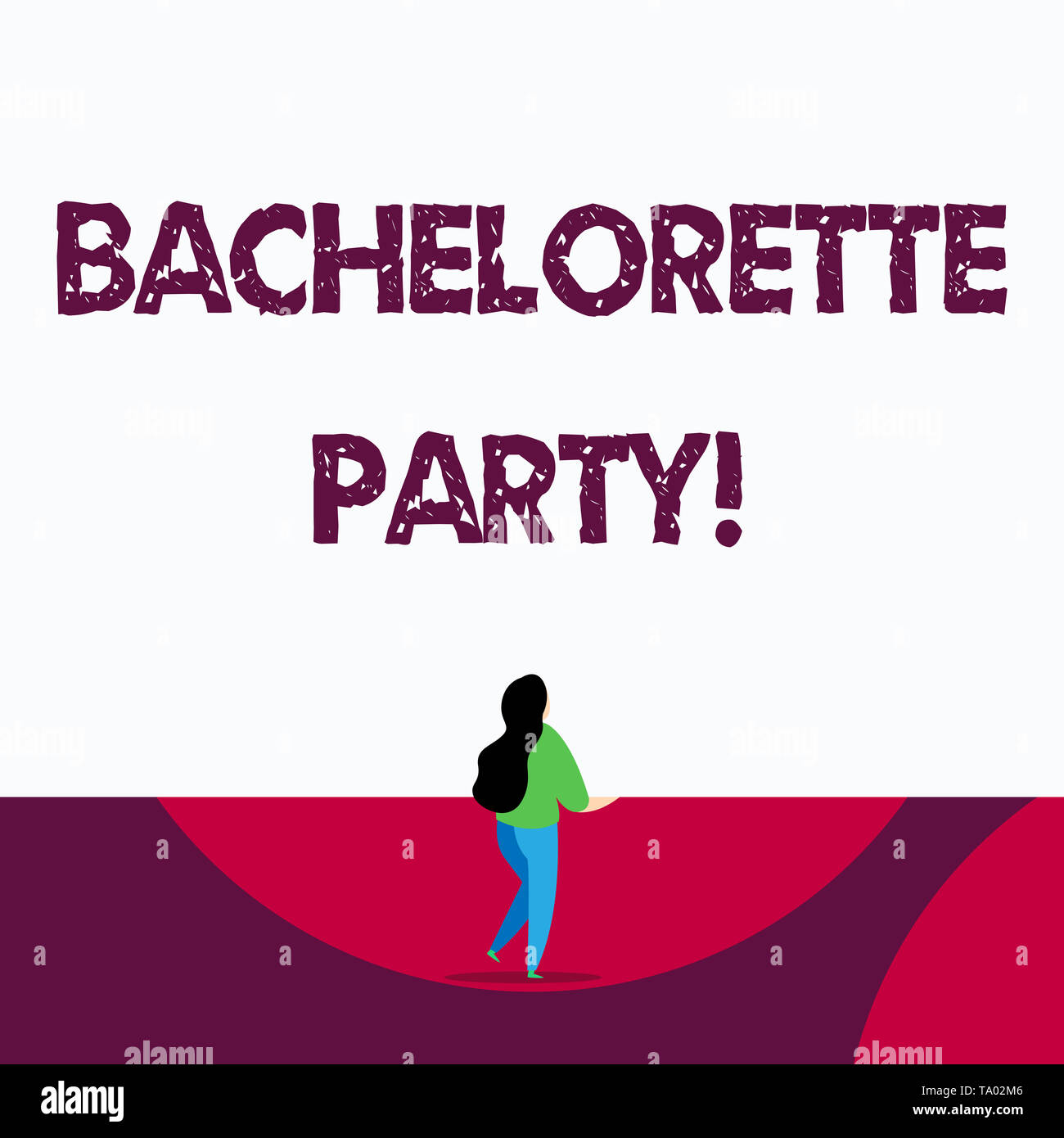 Text sign showing Bachelorette Party. Business photo text a party given for a woanalysis who is about to get married - Stock Image