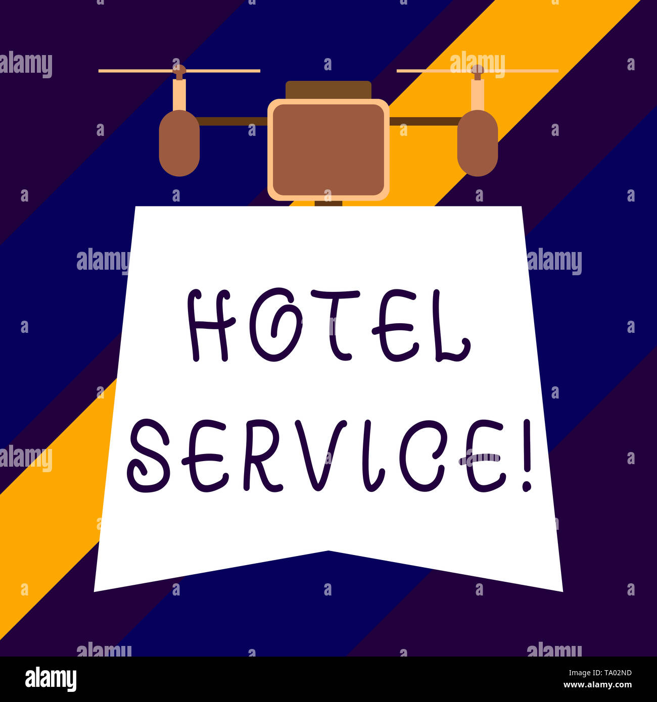 Text sign showing Hotel Service. Business photo showcasing Providing guests warm accommodation and other services - Stock Image
