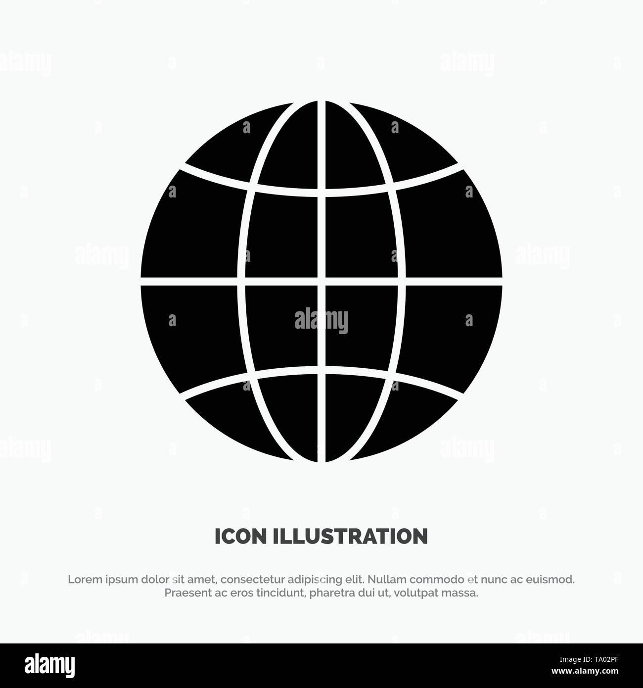 World, Globe, Internet, Design solid Glyph Icon vector Stock