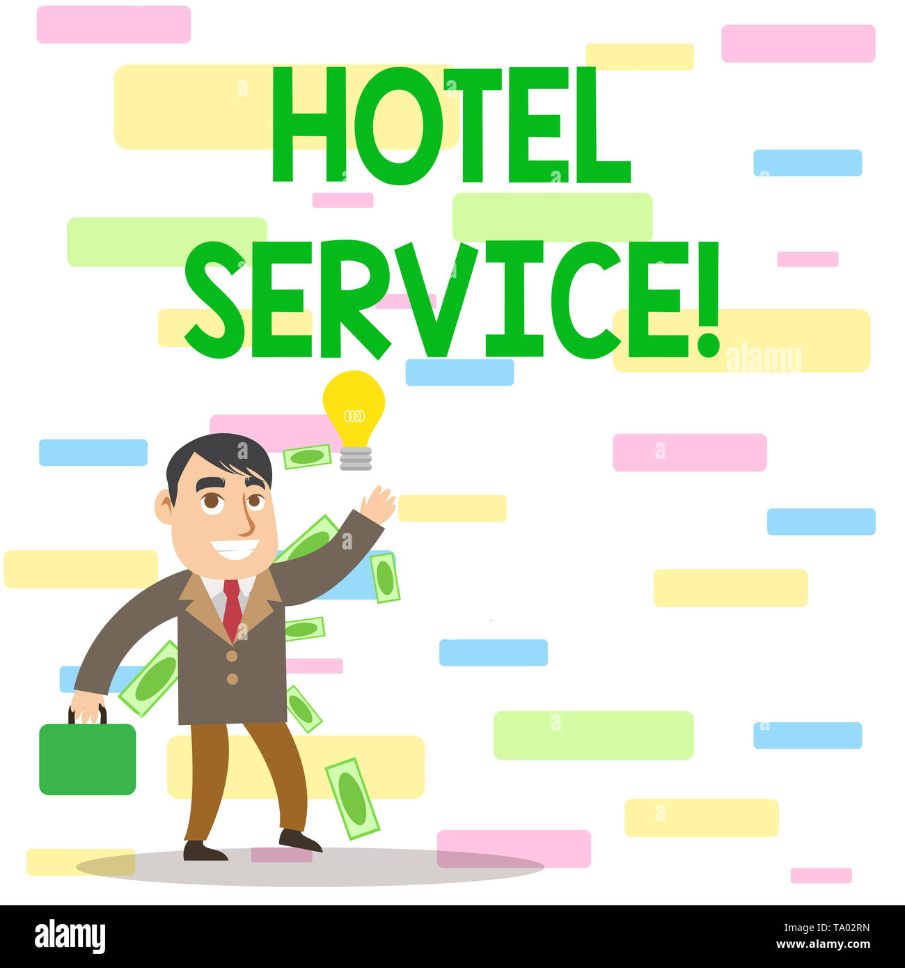 Writing note showing Hotel Service. Business concept for Providing guests warm accommodation and other services Successful Businessman Generating Idea Stock Photo
