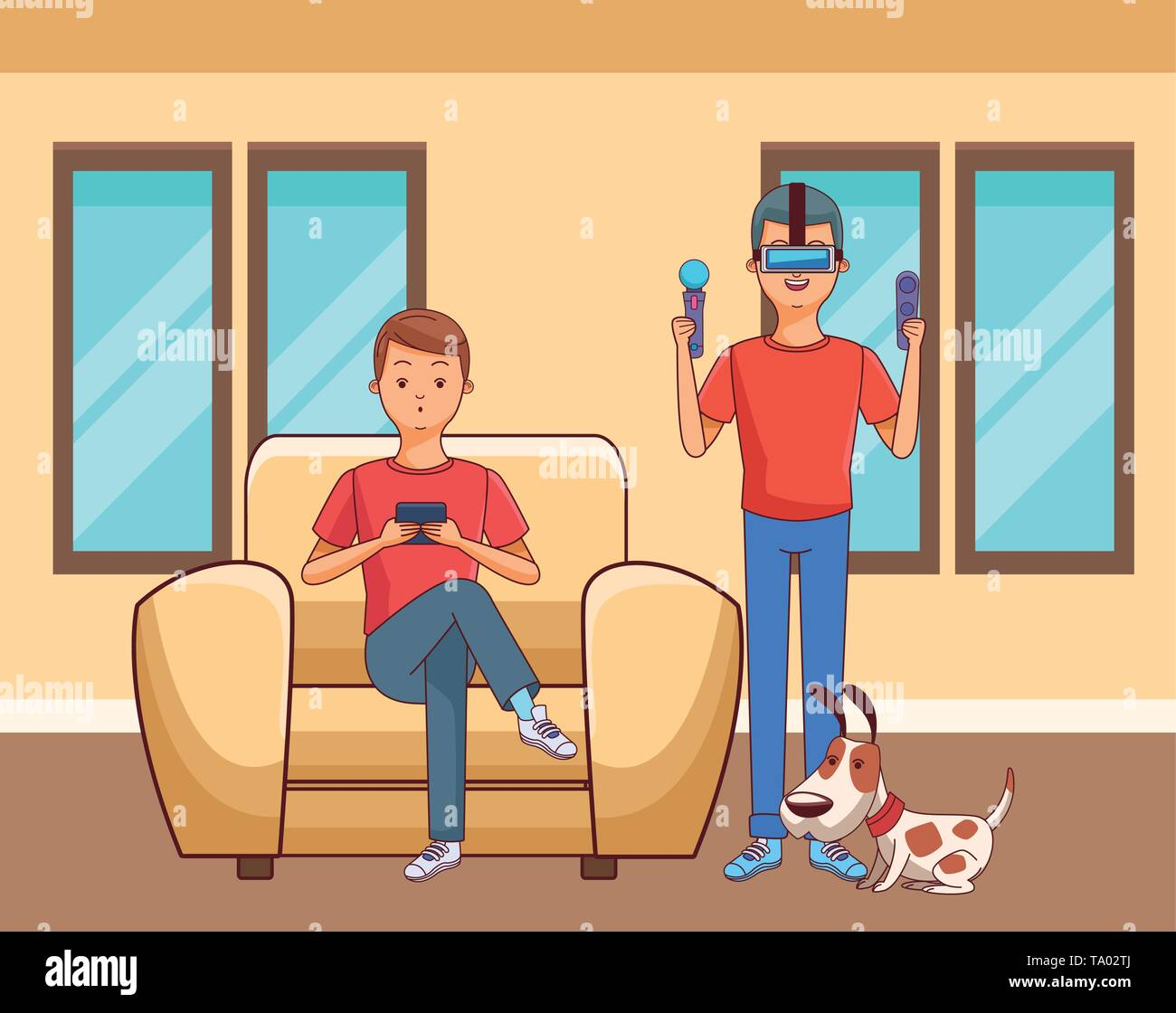 Millennial people gaming party - Stock Image