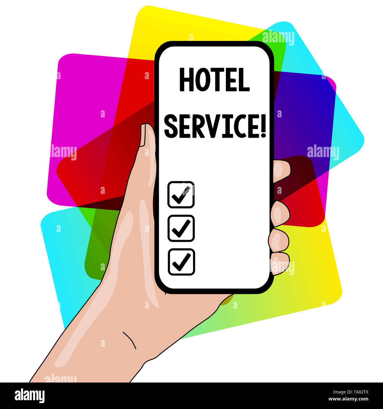 Word writing text Hotel Service. Business photo showcasing Providing guests warm accommodation and other services Closeup of Smartphone Device Held in - Stock Image