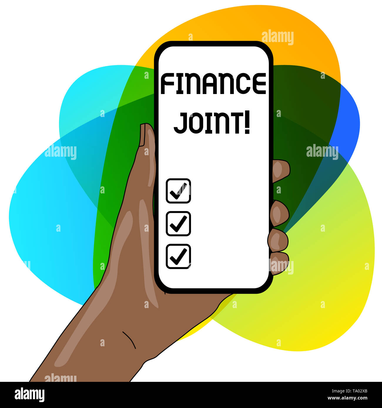 Word writing text Finance Joint. Business photo showcasing provision of funds for a project came from two or more sources Closeup of Smartphone Device - Stock Image