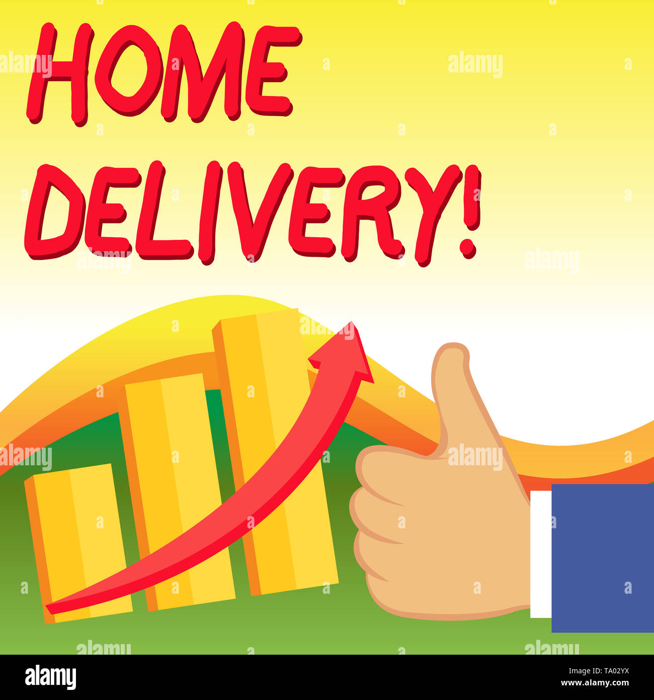 Text sign showing Home Delivery. Business photo showcasing act of taking goods or parcel directly to customers home Thumb Up Good Performance Success  - Stock Image