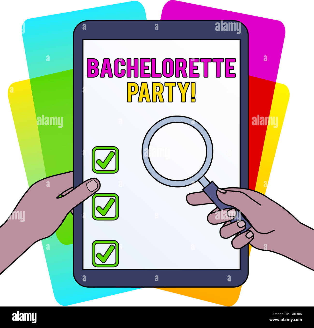 Word writing text Bachelorette Party. Business photo showcasing a party given for a woanalysis who is about to get married Hands Holding Magnifying Gl - Stock Image